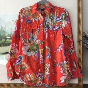 Ralph Lauren Cotton Silk Floral Watercolor Shirt